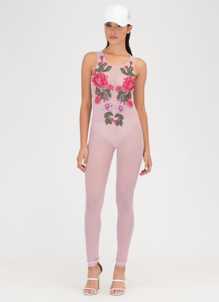 Rose To The Top Sheer Mesh Jumpsuit MAUVE (You Saved $18)