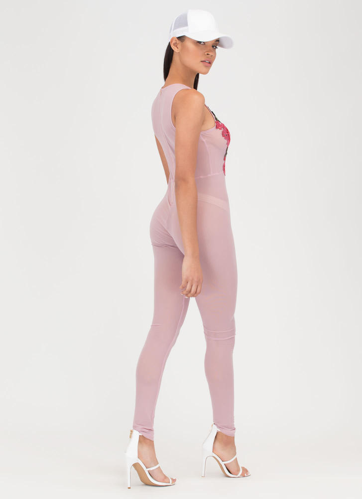 Rose To The Top Sheer Mesh Jumpsuit MAUVE