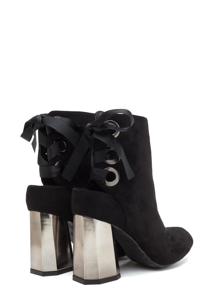 Signature Look Chunky Lace-Back Booties BLACK