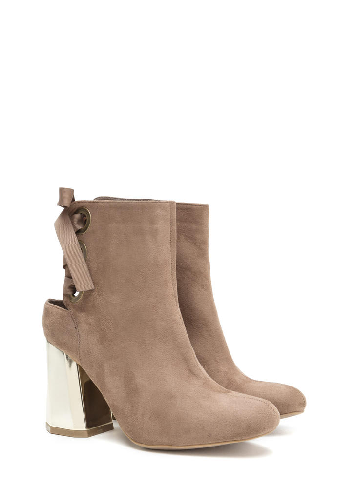 Signature Look Chunky Lace-Back Booties TAUPE