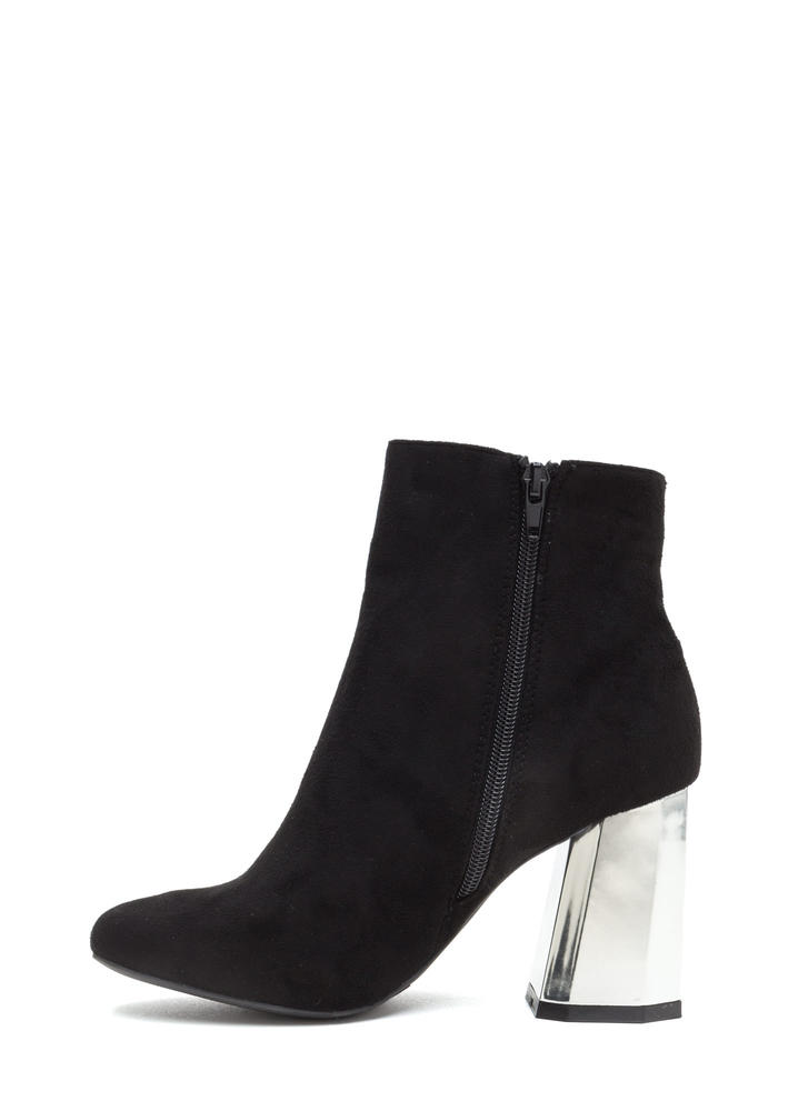 Signature Look Chunky Faux Suede Booties BLACK
