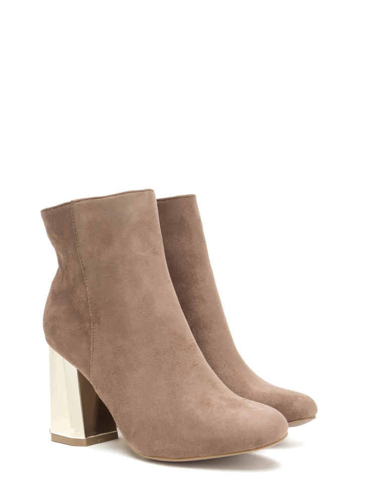 Signature Look Chunky Faux Suede Booties TAUPE
