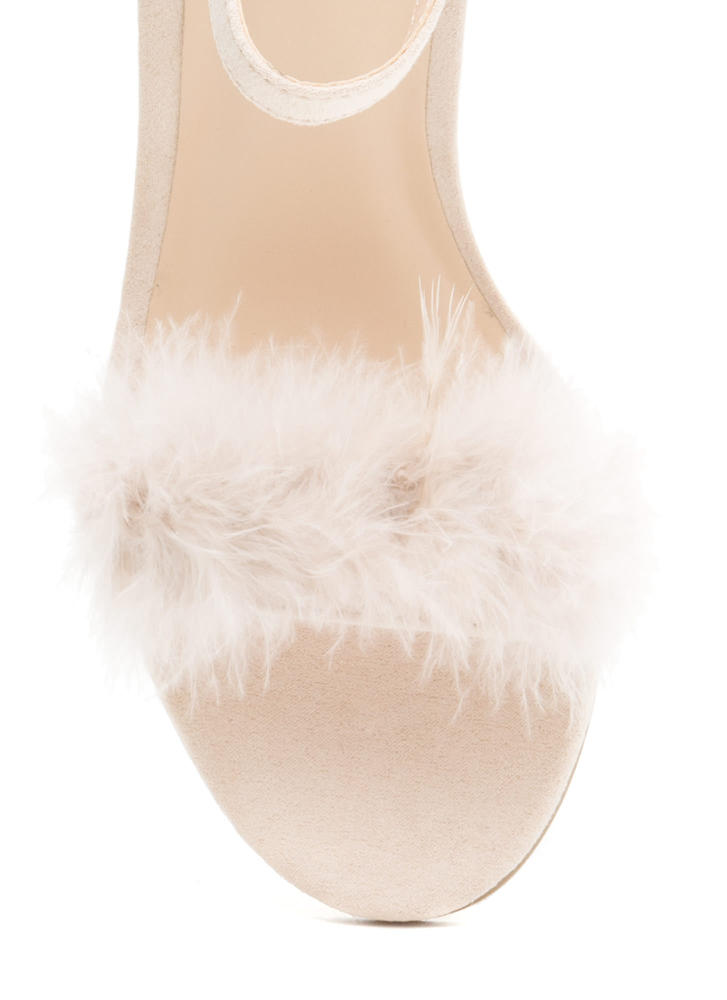 Fair Feathers Faux Suede Block Heels NUDE