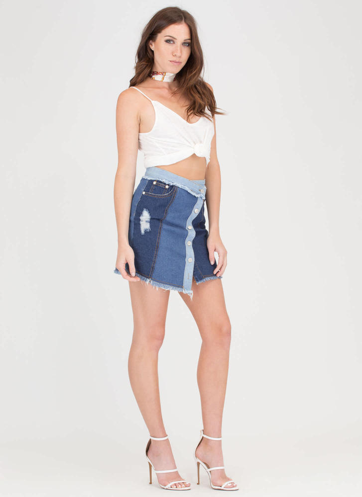 Bits 'N Pieces High-Low Denim Miniskirt BLUE