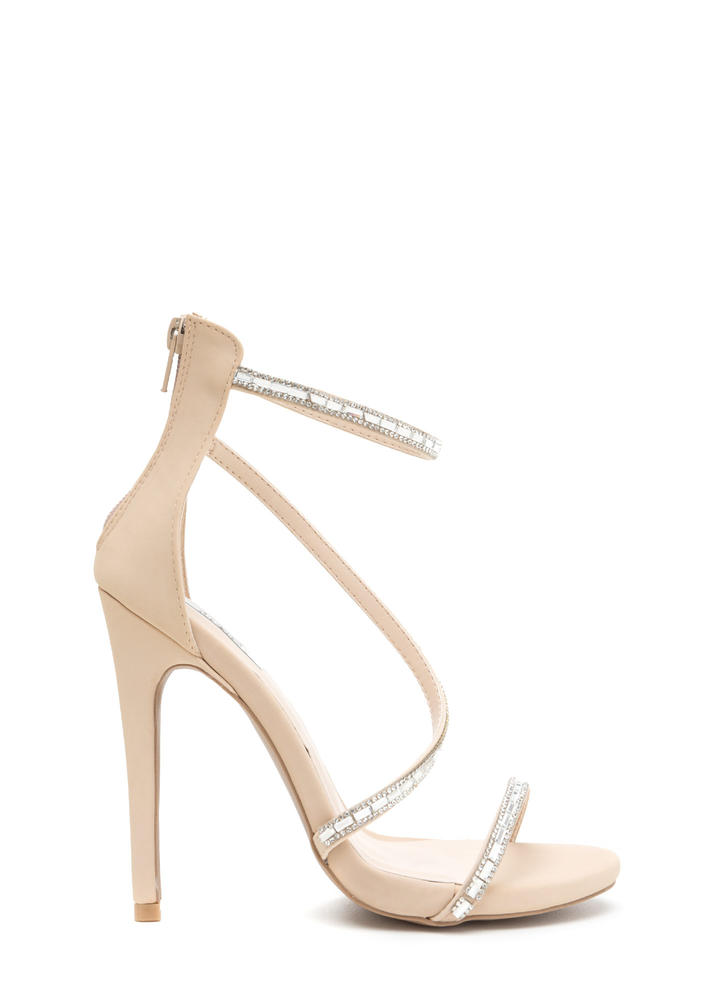 Glam Evening Strappy Jeweled Heels NUDE BLACK - GoJane.com