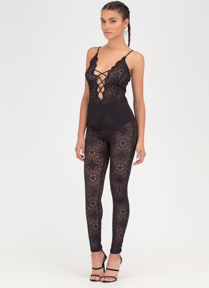 Romantic Allure Tied Lace Jumpsuit BLACK