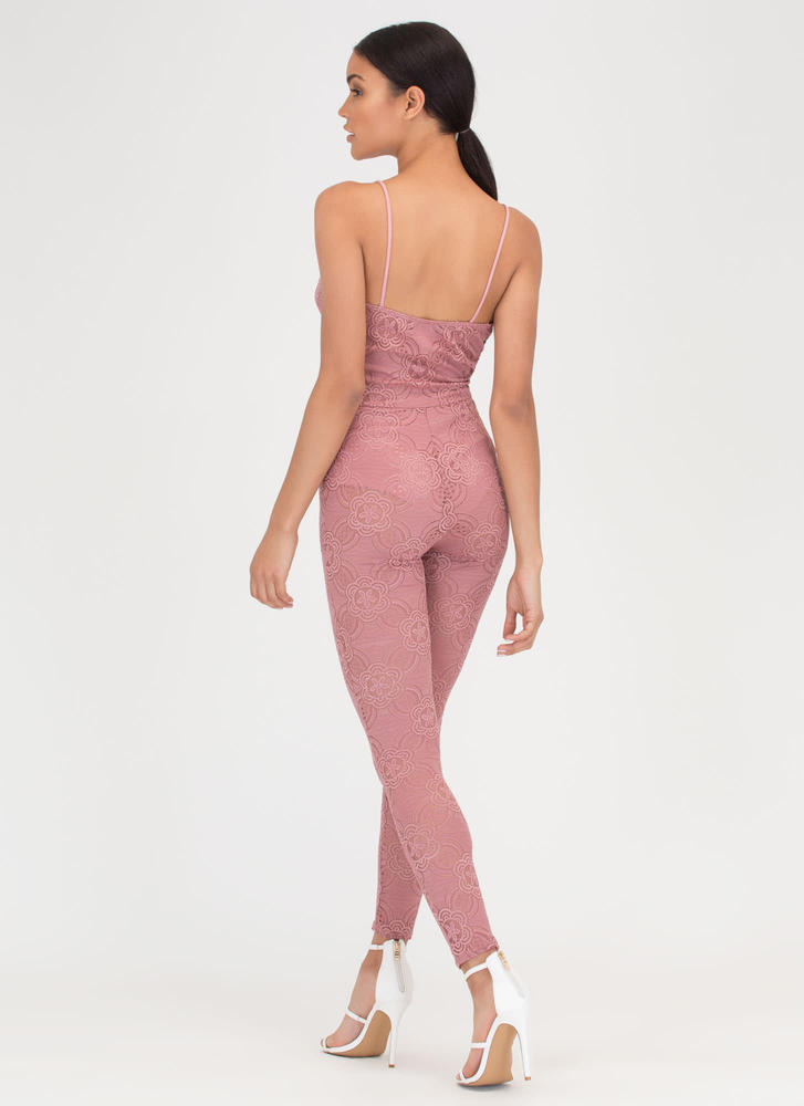 Romantic Allure Tied Lace Jumpsuit MAUVE