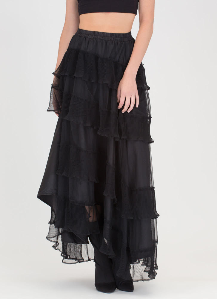 Sheer Cascade High-Low Maxi Skirt BLACK