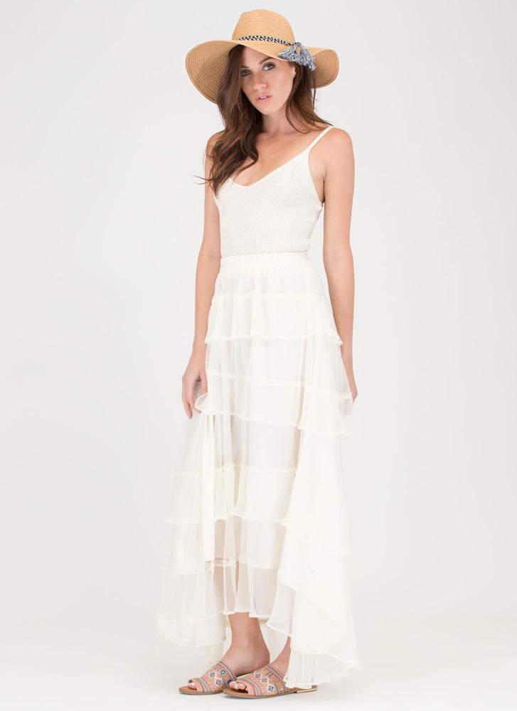 Sheer Cascade High-Low Maxi Skirt IVORY