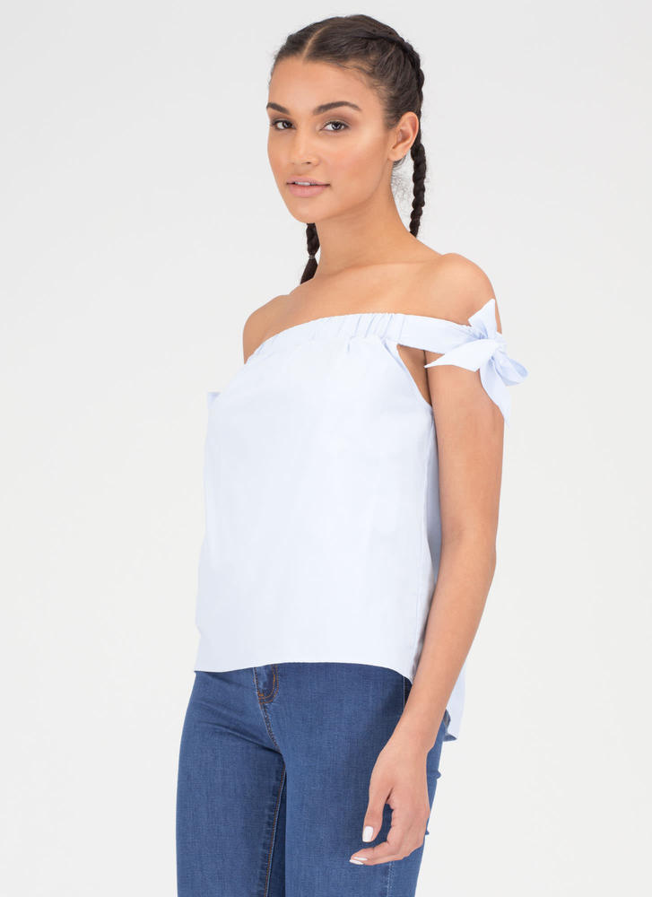Bow On Then Flared Off-Shoulder Top BLUE (Final Sale)
