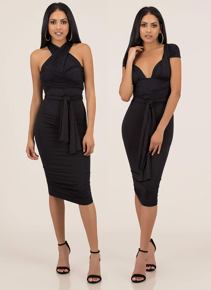 My Way Convertible Ruched Bodycon Dress BLACK (You Saved $29)