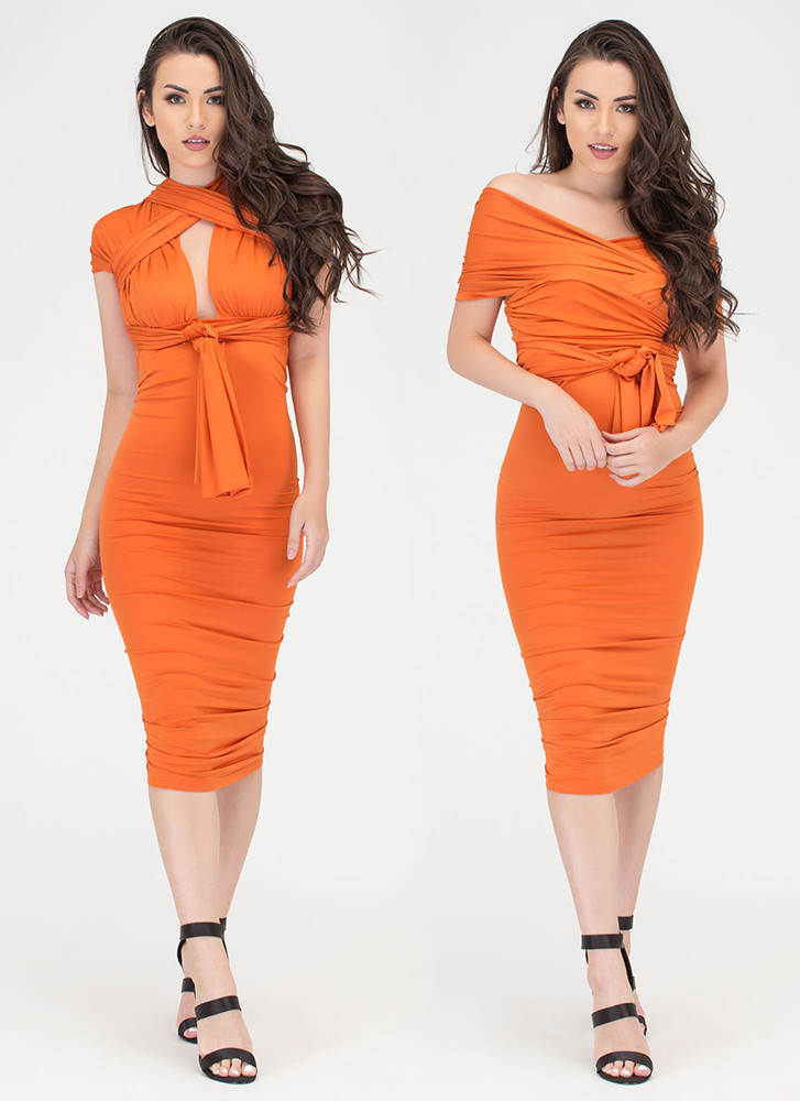 My Way Convertible Ruched Bodycon Dress ORANGE (You Saved $29)