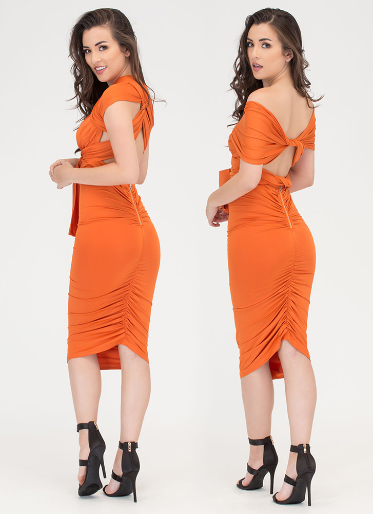 My Way Convertible Ruched Bodycon Dress ORANGE