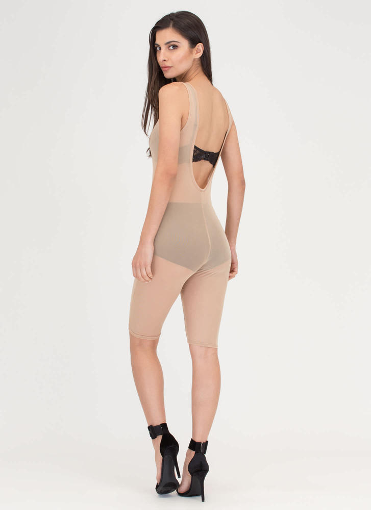 That's For Sheer Mesh Capri Jumpsuit TAUPE