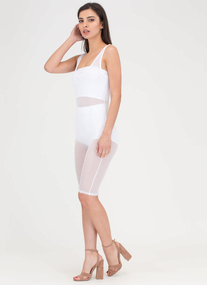 That's For Sheer Mesh Capri Jumpsuit WHITE