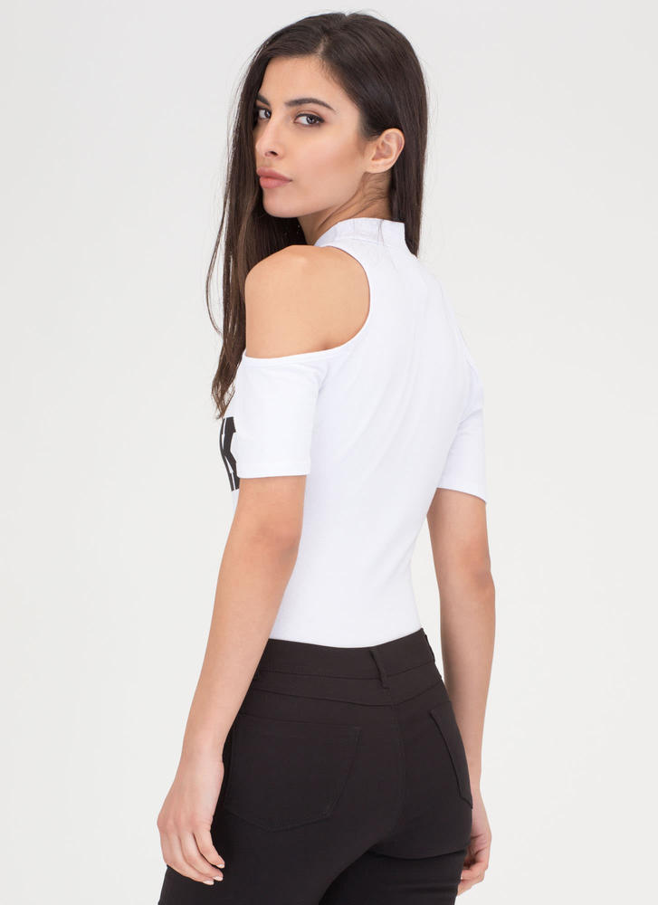 I'm Shook Cold Shoulder Bodysuit WHITE