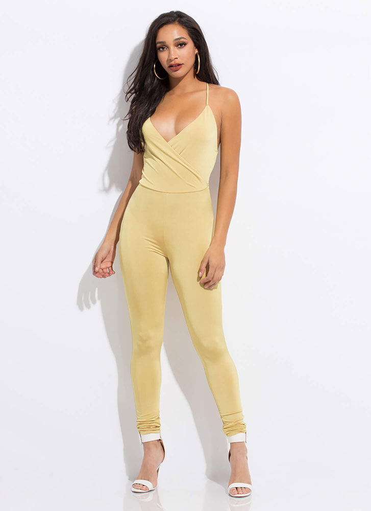 Fancy Feeling Plunging Tied Jumpsuit MUSTARD