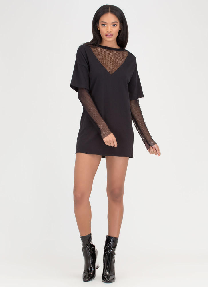 Communication Network Layered Dress BLACK