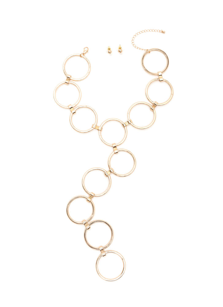 Ring Toss Statement Necklace Set GOLD