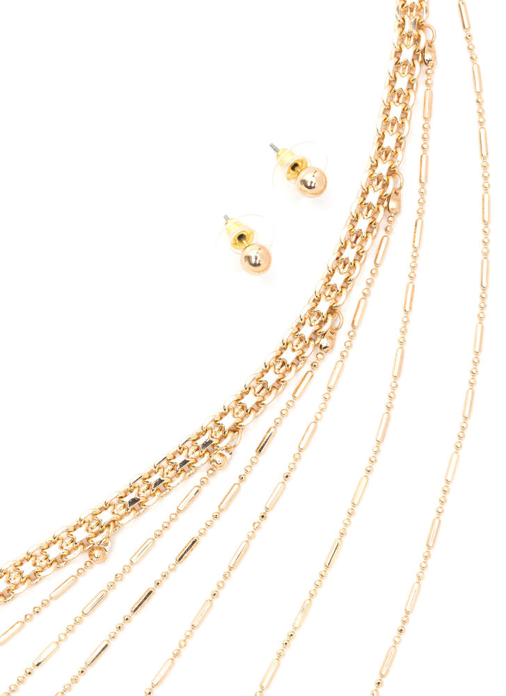 First Date Beaded Chain Necklace Set GOLD