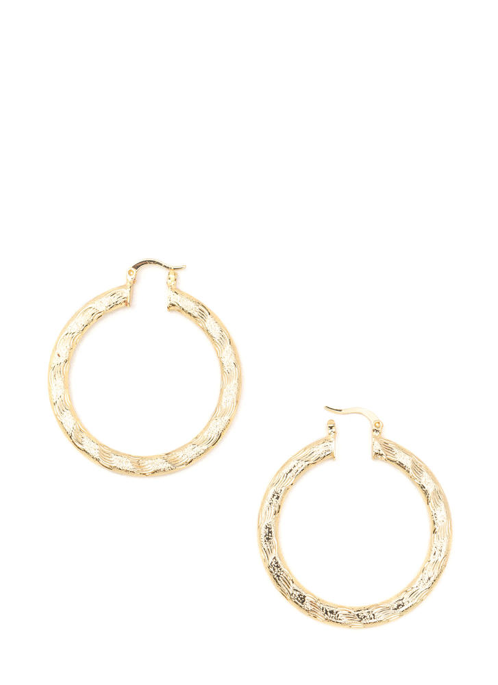 Chic Glimmer Textured Hoop Earrings GOLD