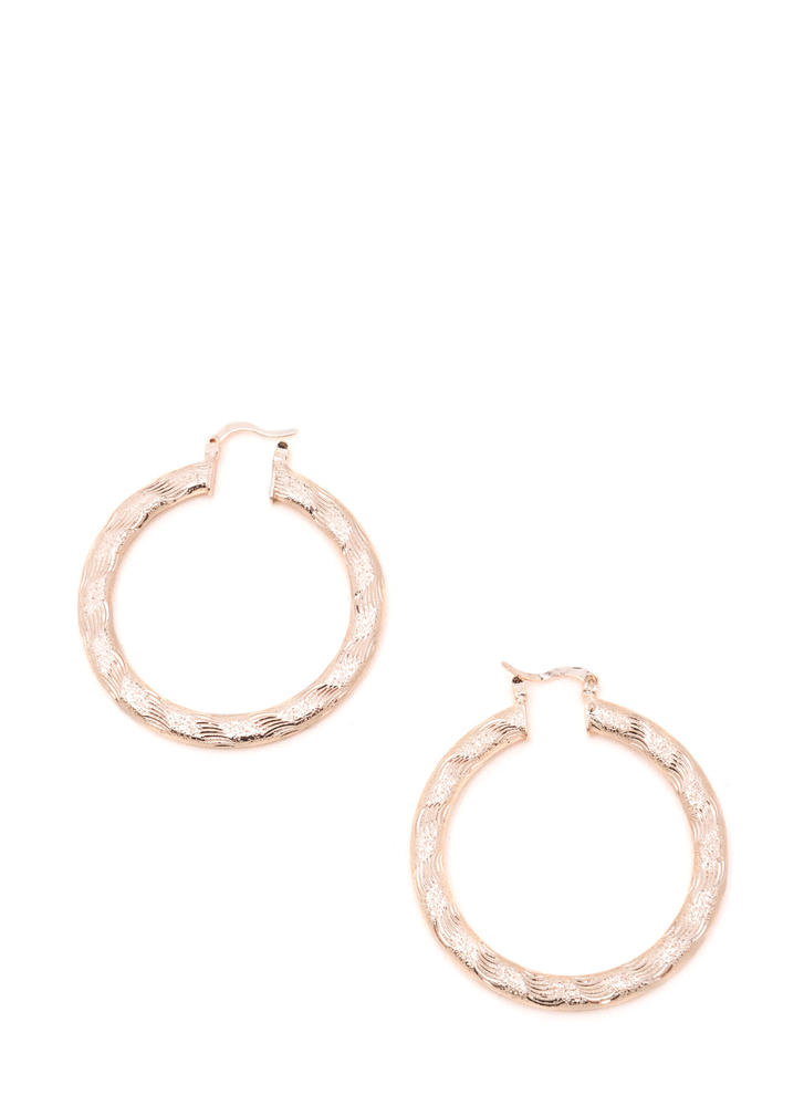 Chic Glimmer Textured Hoop Earrings ROSEGOLD