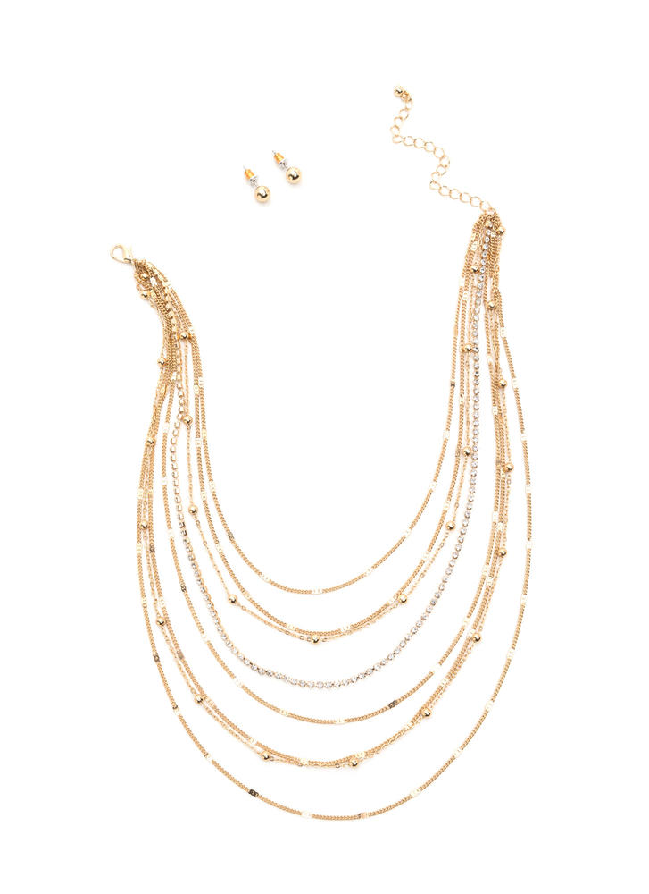 Shimmering Waterfall Chain Necklace Set GOLD (Final Sale)