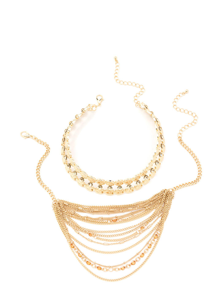 Dazzling Layers Sparkly Necklace Set GOLD