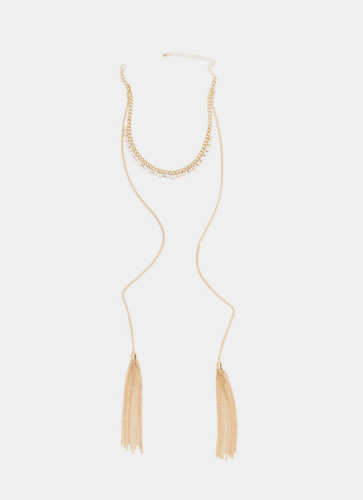 Tassel Me Pretty Faux Jewel Necklace GOLD