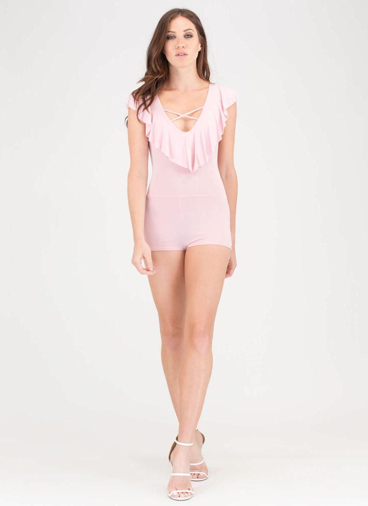 A Diamond In The Ruffled Romper PINK