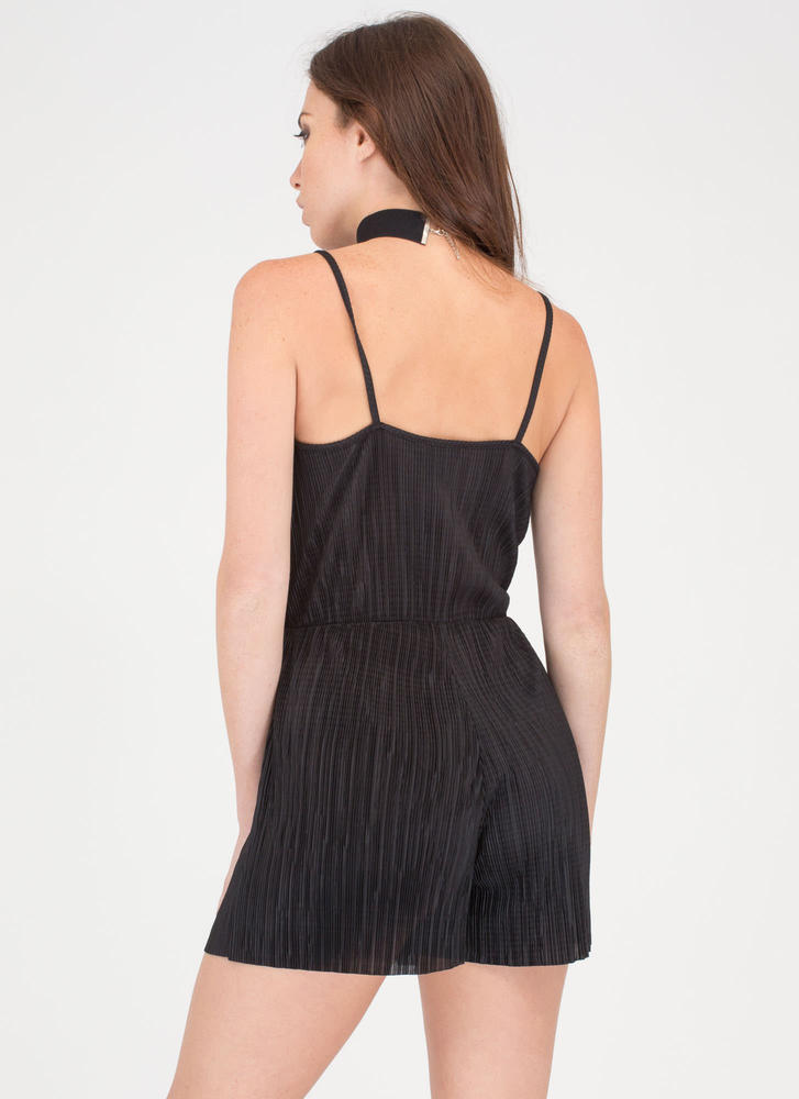 Say The Magic Word Pleated Romper BLACK