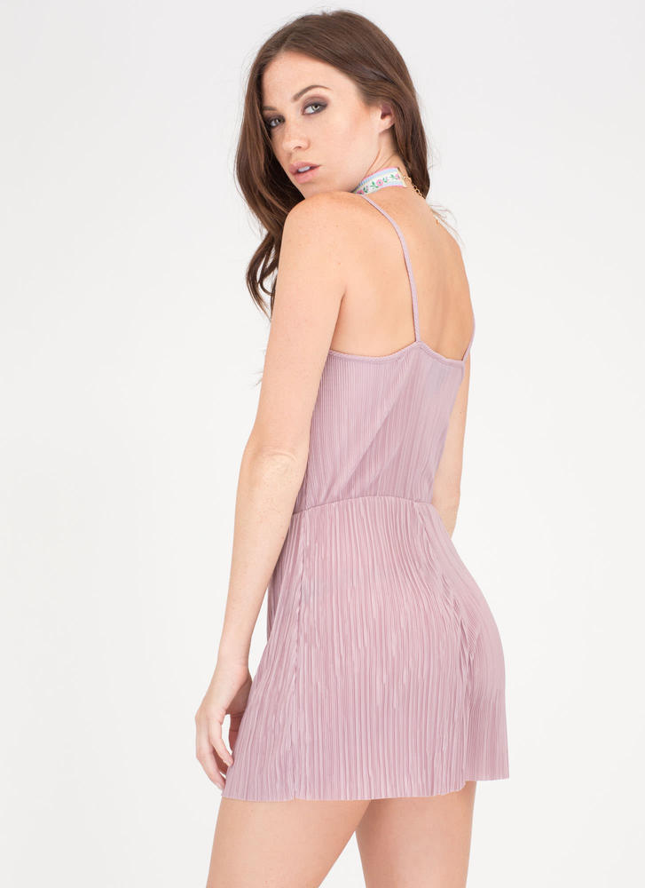 Say The Magic Word Pleated Romper MAUVE