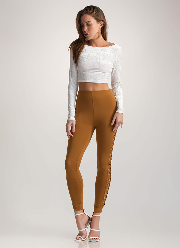 Sneak A Peek Lace-Up Leggings CURRY