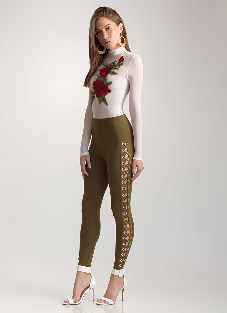 Sneak A Peek Lace-Up Leggings OLIVE (Final Sale)