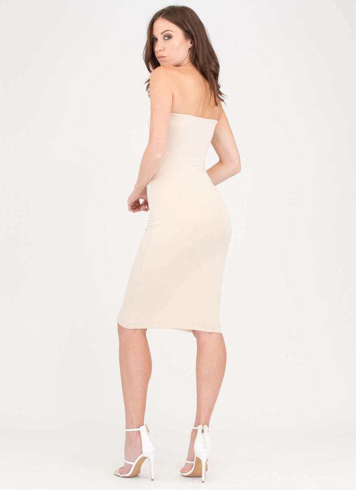Staying Flower Embroidered Tube Dress CREAM