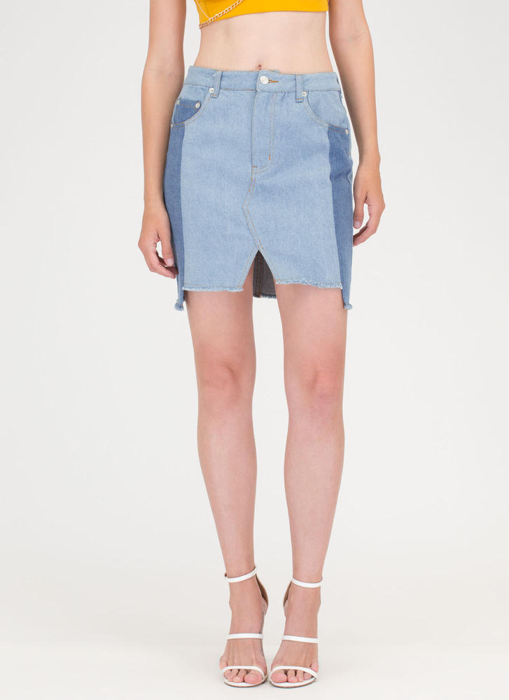 All Together Now Colorblock Denim Skirt BLUE (Final Sale)