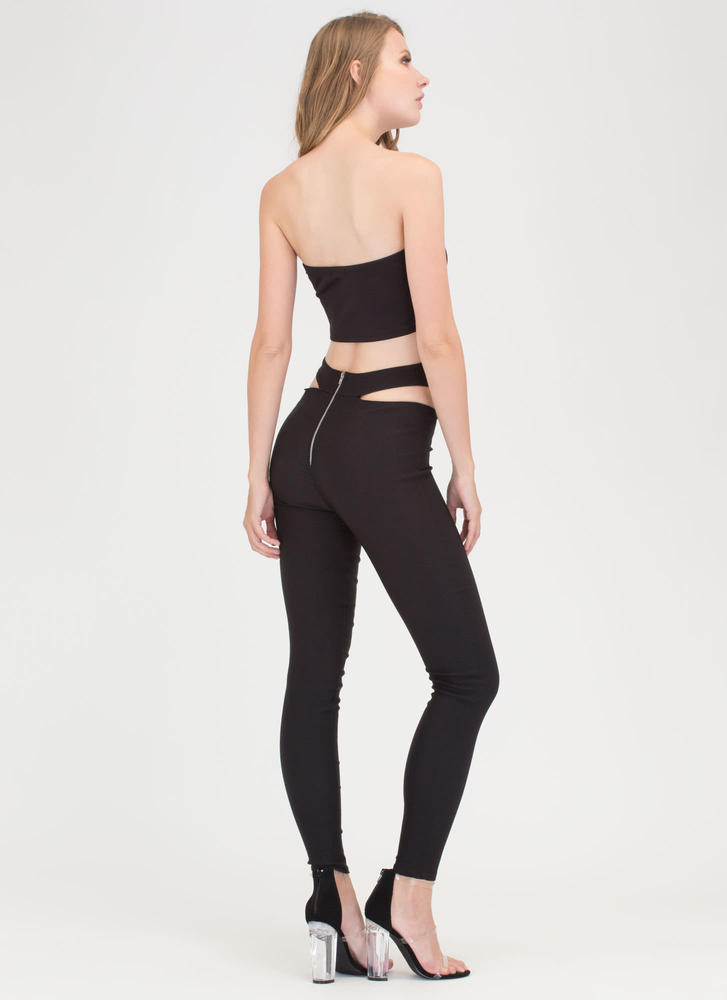 Hip Huggers Cut-Out Pants BLACK