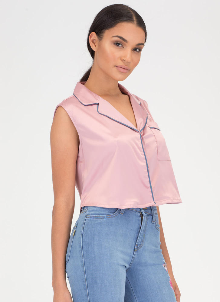 Lap Of Luxury Satin Cropped Shirt MAUVE