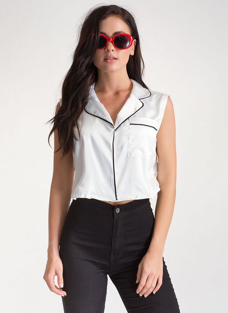 Lap Of Luxury Satin Cropped Shirt WHITE