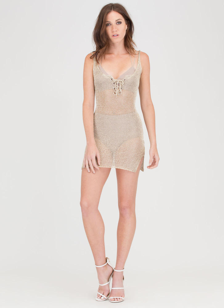 This Is Knit Lace-Up Metallic Minidress LTGOLD (Final Sale)