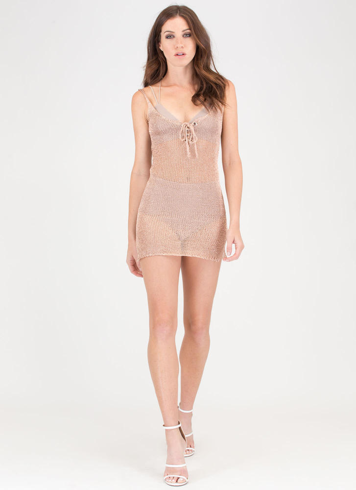 This Is Knit Lace-Up Metallic Minidress ROSEGOLD
