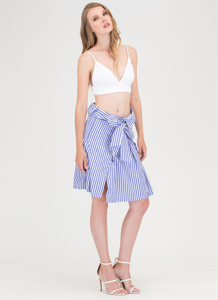 Shirt Why Not Striped Tied Skirt BLUE