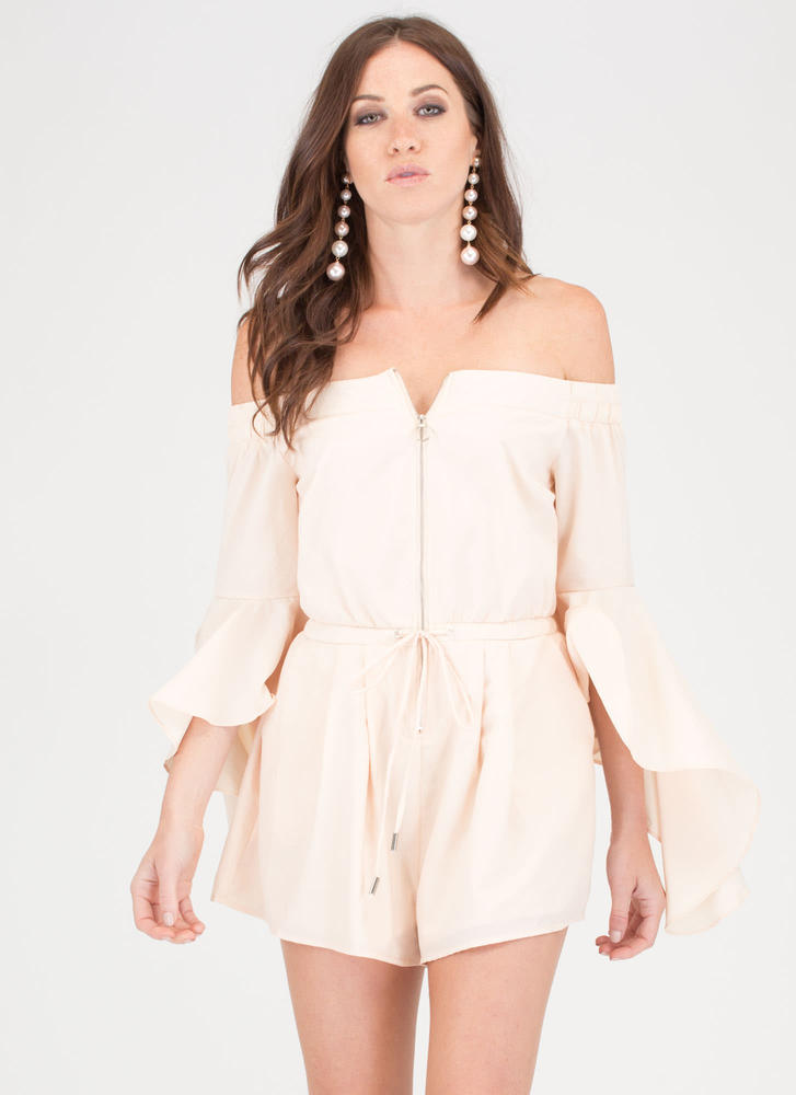 Ring The Bell Sleeve Off-Shoulder Romper CREAM