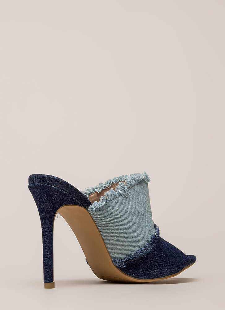 Two-Tone Step Frayed Mule Heels BLUE (Final Sale)