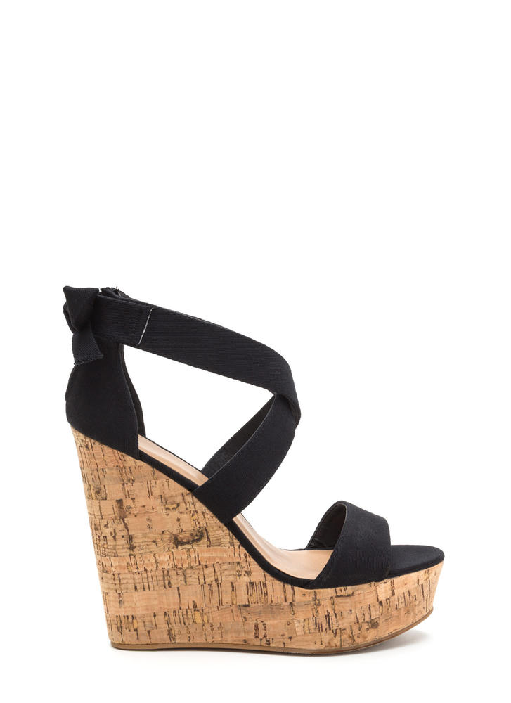 Bow All Out Strappy Platform Wedges BLACK