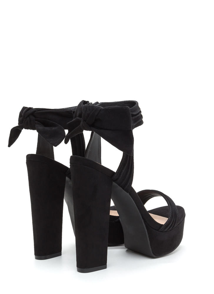 Bow Yeah Chunky Faux Suede Heels BLACK