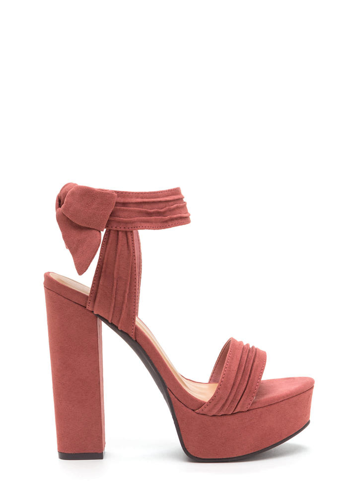 Bow Yeah Chunky Faux Suede Heels DKMAUVE