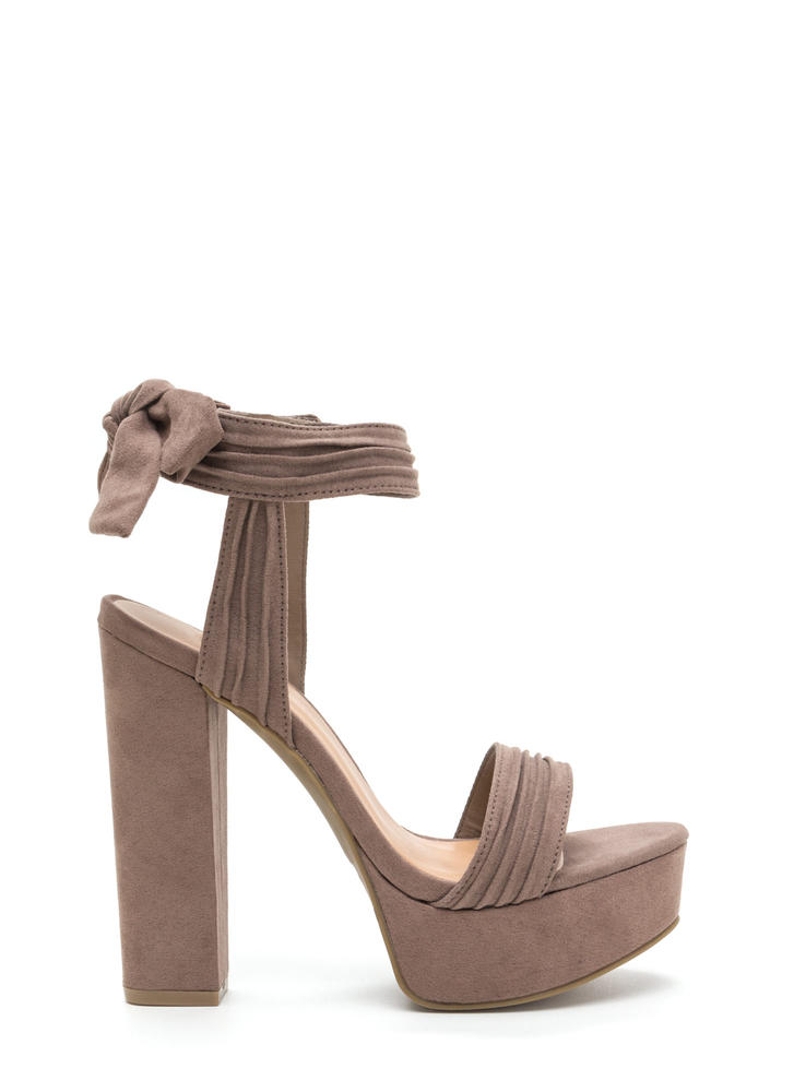 Bow Yeah Chunky Faux Suede Heels TAUPE