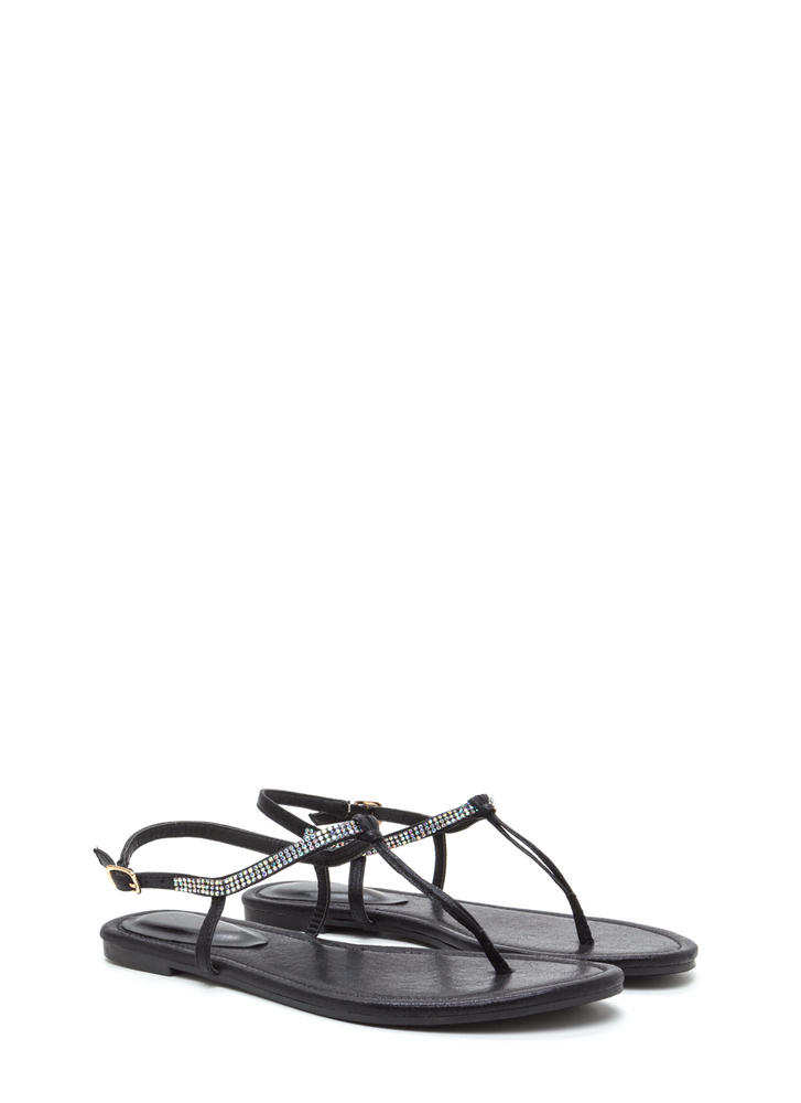 Bling It On Skinny T-Strap Sandals BLACK
