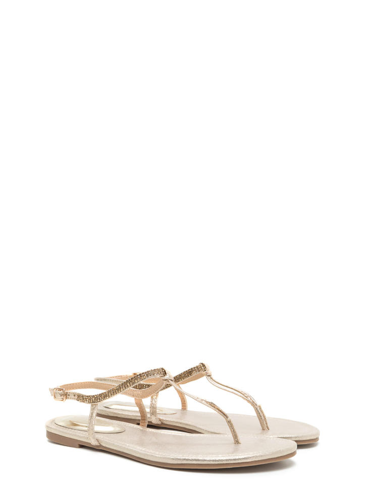 Bling It On Metallic T-Strap Sandals CHAMPAGNE